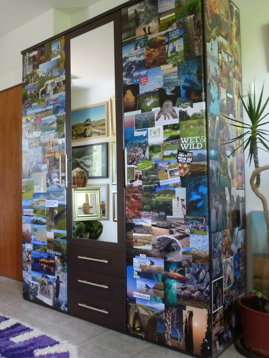 Collaged Cupboard - Michael & Shona Bossom & some old National Geographic Magazines.